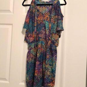 Colorful cold shoulder dresss